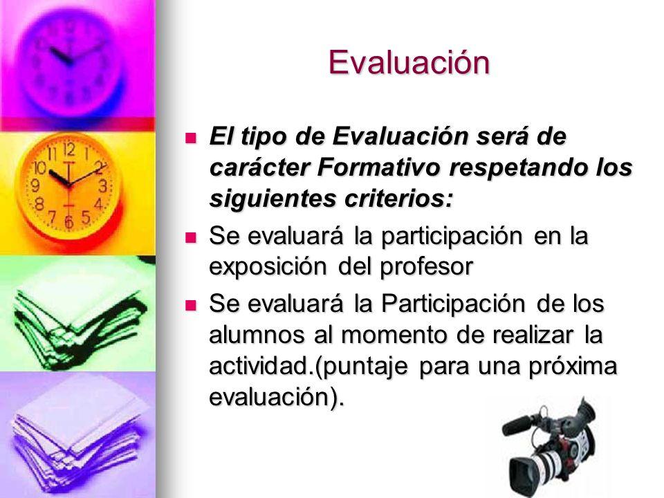 Evaluación El tipo de Evaluación será de carácter Formativo respetando los siguientes criterios: El tipo de Evaluación será de carácter Formativo resp