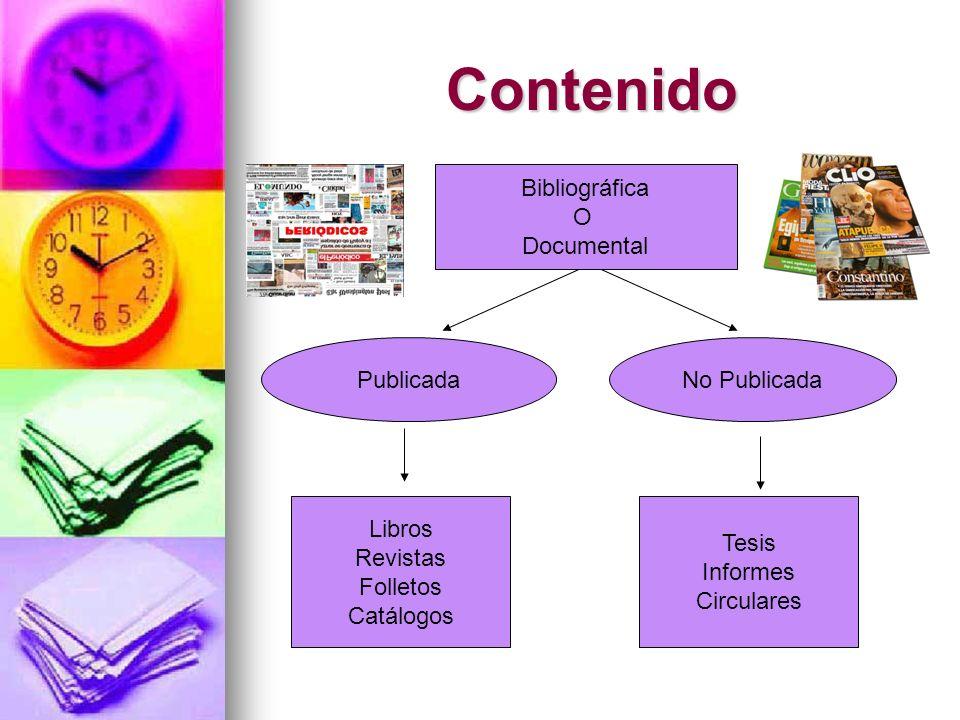 Contenido Bibliográfica O Documental PublicadaNo Publicada Libros Revistas Folletos Catálogos Tesis Informes Circulares