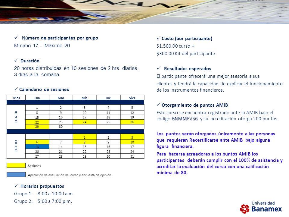 Número de participantes por grupo Mínimo 17 - Máximo 20 Duración 20 horas distribuidas en 10 sesiones de 2 hrs.