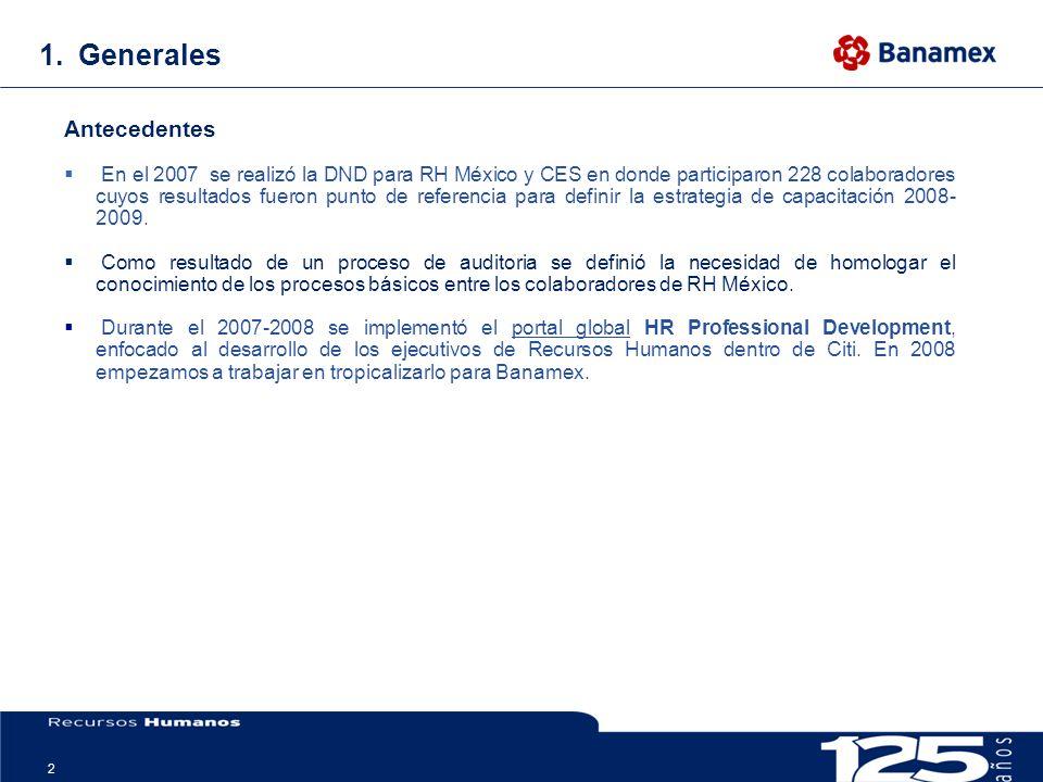 2 1.Generales Antecedentes En el 2007 se realizó la DND para RH México y CES en donde participaron 228 colaboradores cuyos resultados fueron punto de