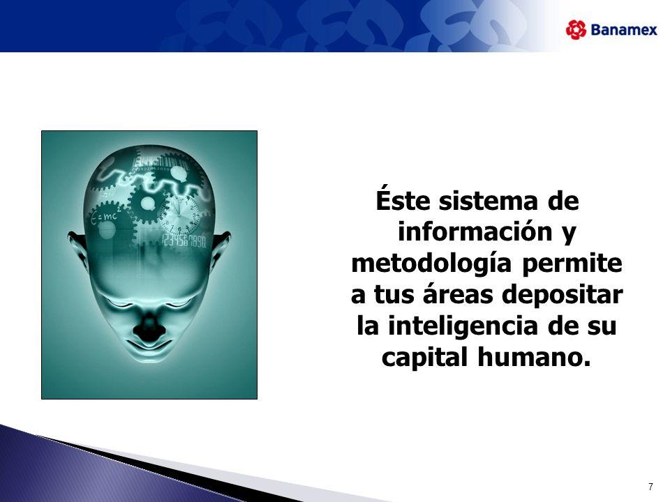 Éste sistema de información y metodología permite a tus áreas depositar la inteligencia de su capital humano.