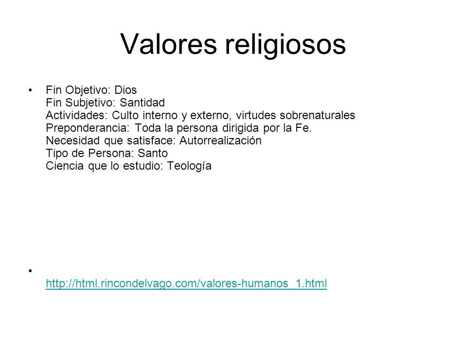 Valores religiosos Fin Objetivo: Dios Fin Subjetivo: Santidad Actividades: Culto interno y externo, virtudes sobrenaturales Preponderancia: Toda la pe