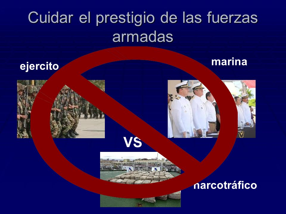 Cuidar el prestigio de las fuerzas armadas ejercito marina VS narcotráfico
