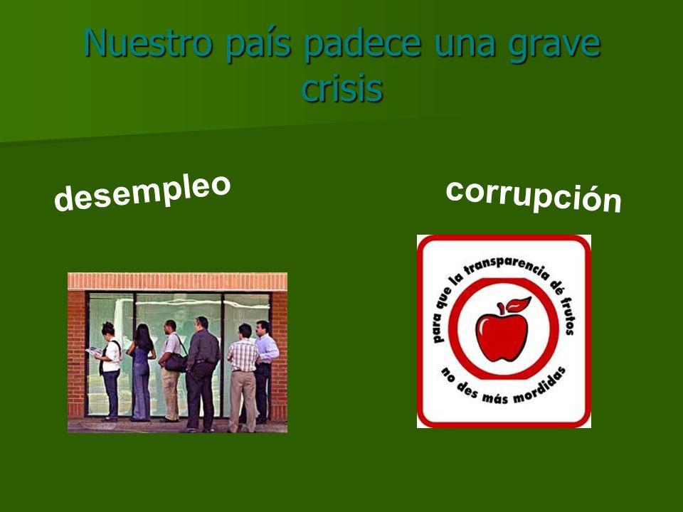Nuestro país padece una grave crisis desempleo corrupción