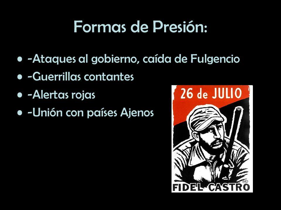 Formas de Presión: -Ataques al gobierno, caída de Fulgencio -Guerrillas contantes -Alertas rojas -Unión con países Ajenos