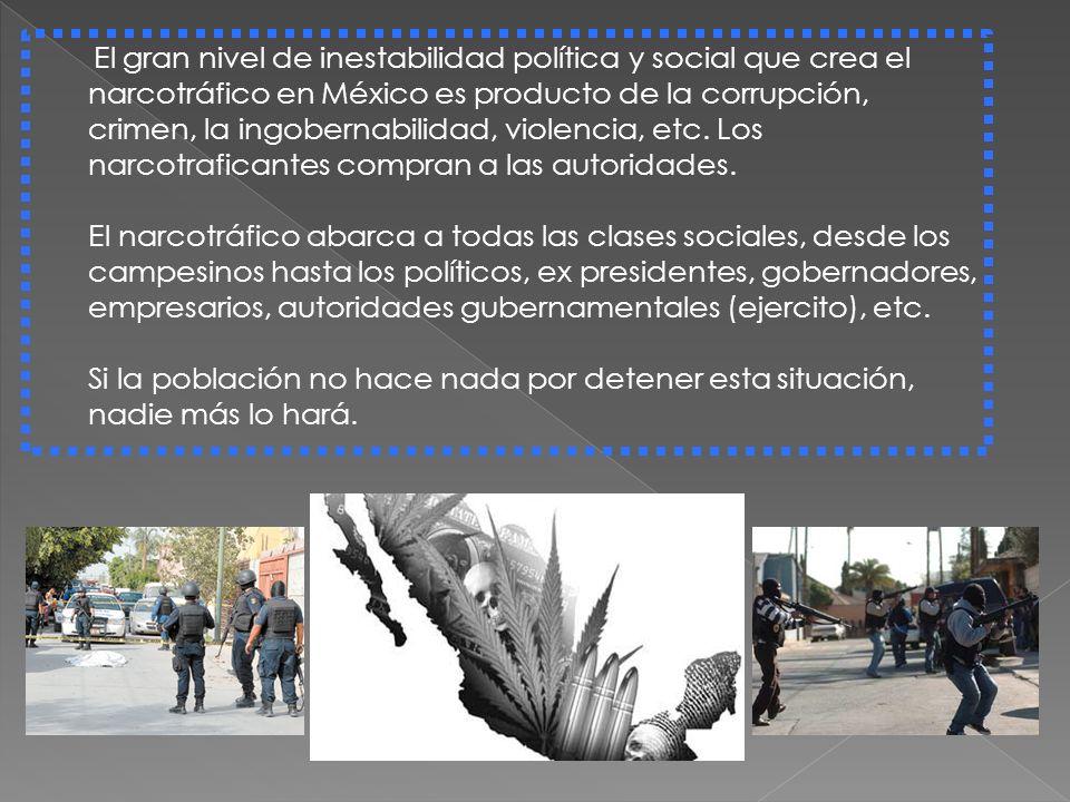 El gran nivel de inestabilidad política y social que crea el narcotráfico en México es producto de la corrupción, crimen, la ingobernabilidad, violenc