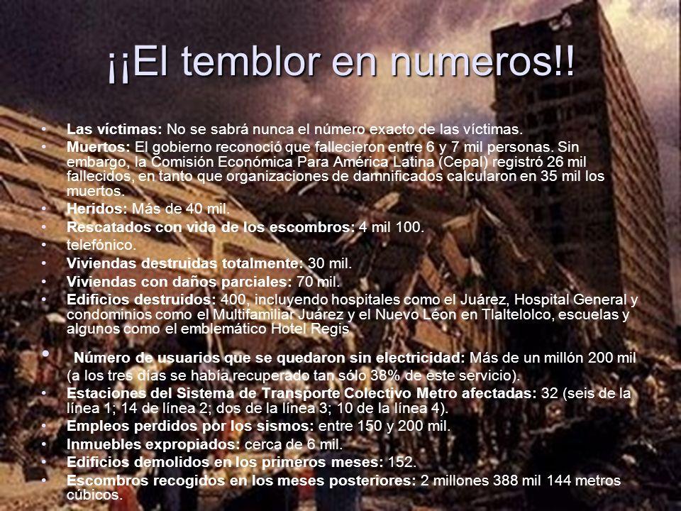 ¡¡El temblor en numeros!! Las víctimas: No se sabrá nunca el número exacto de las víctimas. Muertos: El gobierno reconoció que fallecieron entre 6 y 7