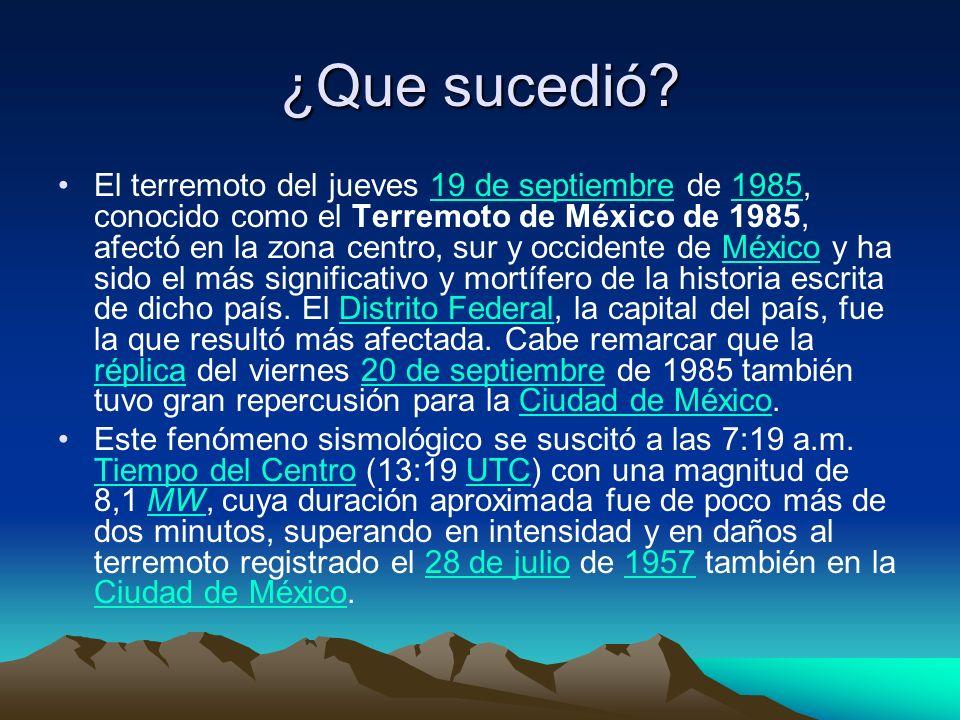 ¿Que sucedió? El terremoto del jueves 19 de septiembre de 1985, conocido como el Terremoto de México de 1985, afectó en la zona centro, sur y occident
