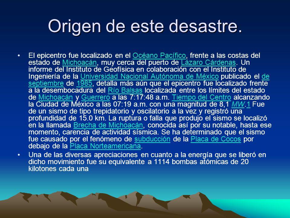 Origen de este desastre. El epicentro fue localizado en el Océano Pacífico, frente a las costas del estado de Michoacán, muy cerca del puerto de Lázar