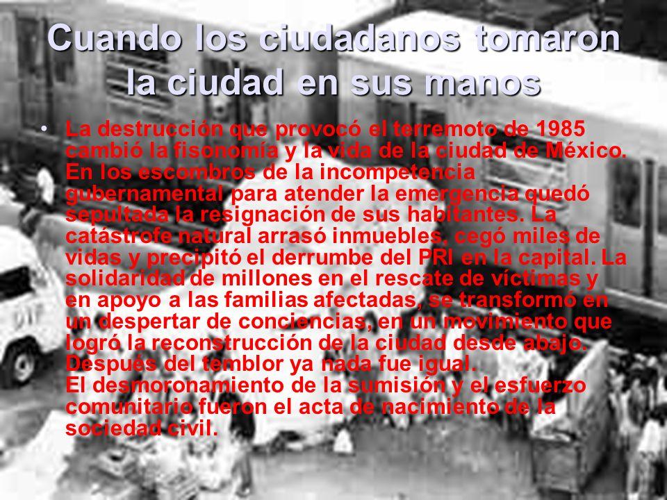 Repercusiones sociales y políticas del temblor de 1985 Los temblores del 19 y 20 de septiembre de 1985 destruyeron la zona central del Distrito Federal.