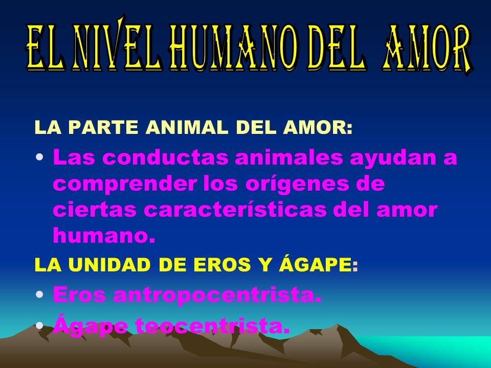 LA PARTE ANIMAL DEL AMOR: Las conductas animales ayudan a comprender los orígenes de ciertas características del amor humano. LA UNIDAD DE EROS Y ÁGAP
