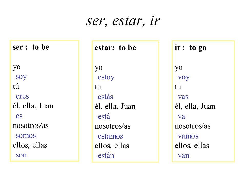ser, estar, ir ser : to be yo soy tú eres él, ella, Juan es nosotros/as somos ellos, ellas son estar: to be yo estoy tú estás él, ella, Juan está noso