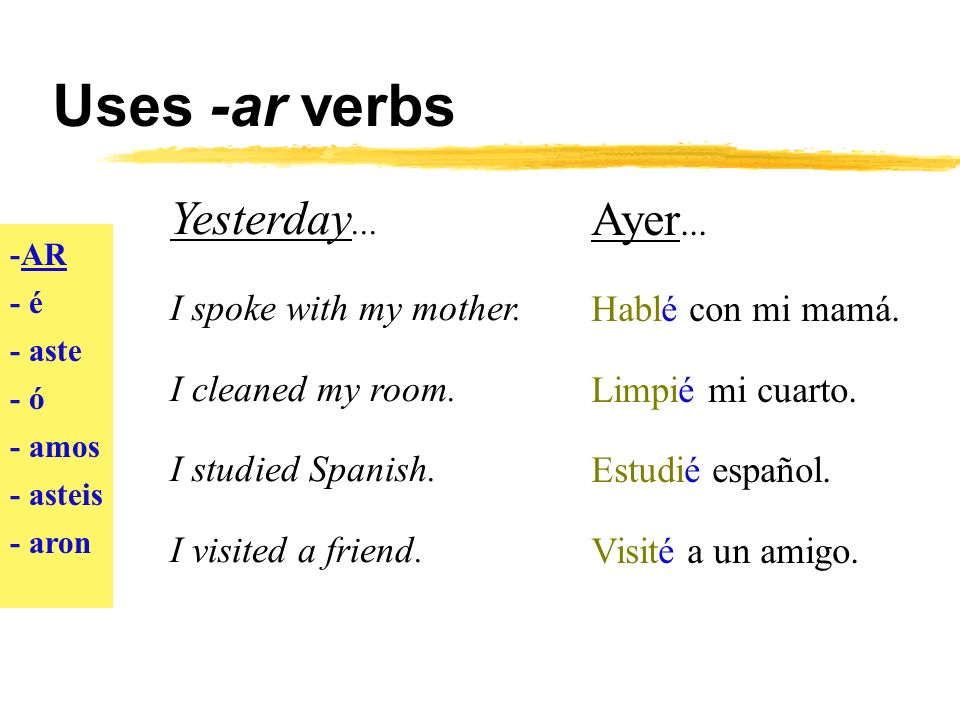 Uses -ar verbs -AR - é - aste - ó - amos - asteis - aron Last year...