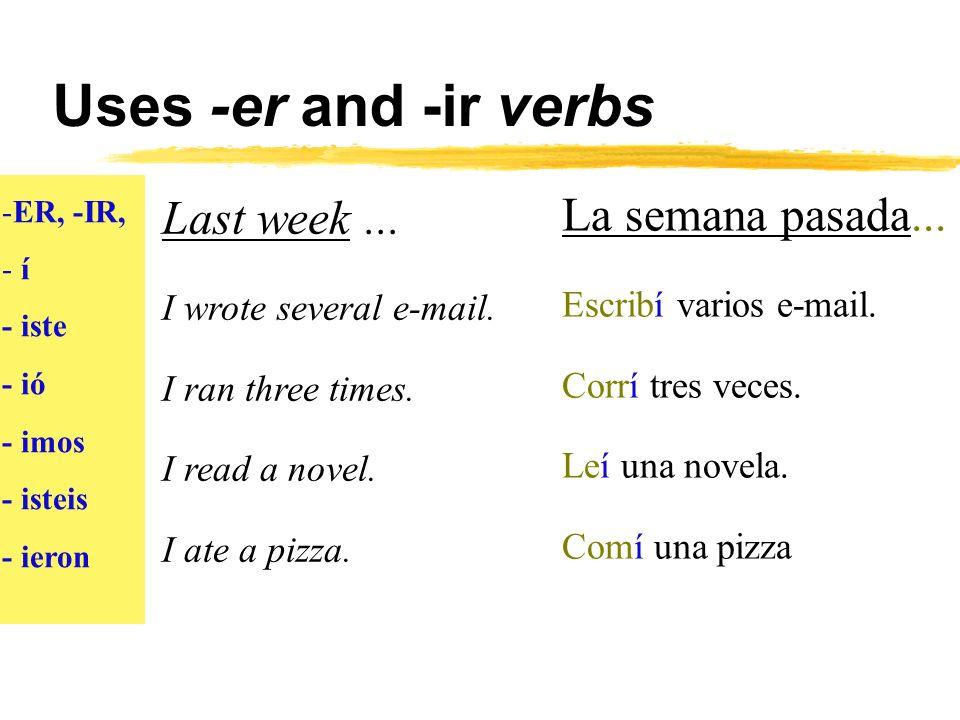 Uses -er and -ir verbs -ER, -IR - í - iste - ió - imos - isteis - ieron Many years ago...