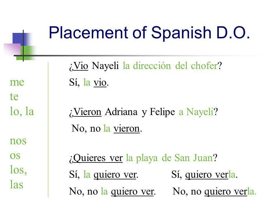 ¿Vio Nayeli la dirección del chofer? Sí, la vio. ¿Vieron Adriana y Felipe a Nayeli? No, no la vieron. ¿Quieres ver la playa de San Juan? Sí, la quiero