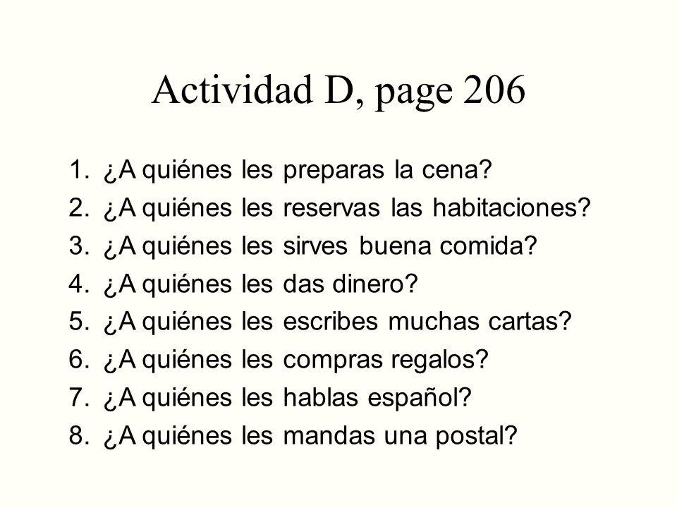 Actividades A, B pages 208-209 A.Asociaciones 1. médico, farmacéutico 2.