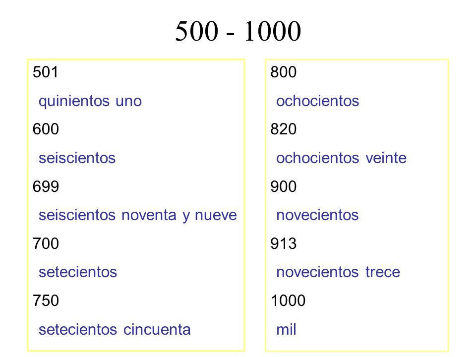 500 - 1000 501 quinientos uno 600 seiscientos 699 seiscientos noventa y nueve 700 setecientos 750 setecientos cincuenta 800 ochocientos 820 ochocientos veinte 900 novecientos 913 novecientos trece 1000 mil