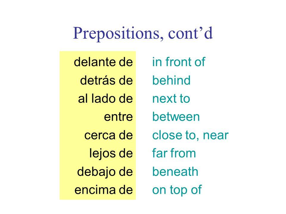 Prepositions, contd in front of behind next to between close to, near far from beneath on top of delante de detrás de al lado de entre cerca de lejos