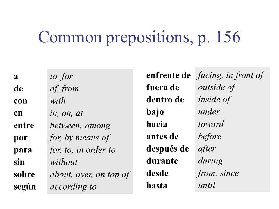 Common prepositions, p. 156 enfrente de fuera de dentro de bajo hacia antes de después de durante desde hasta a de con en entre por para sin sobre seg