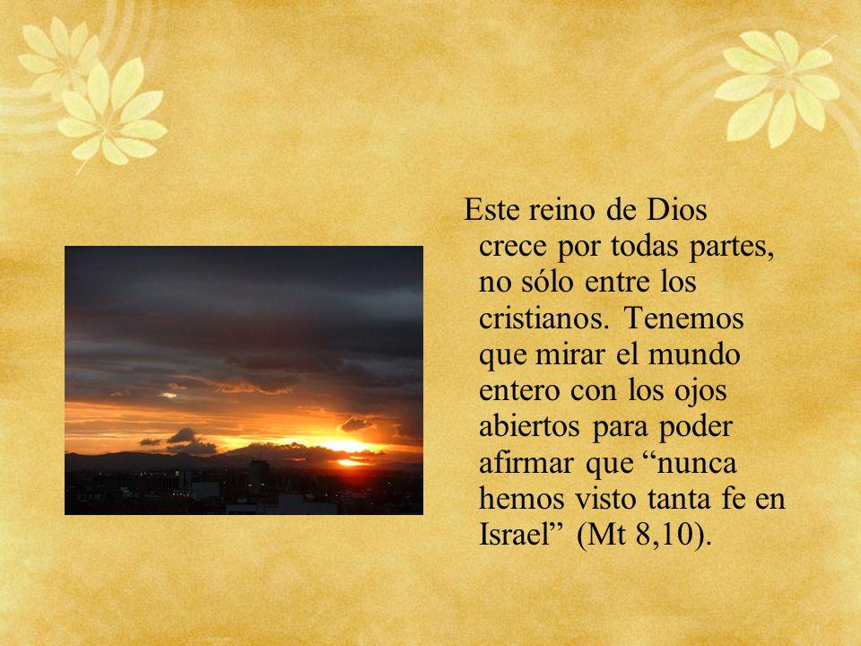 Este reino de Dios crece por todas partes, no sólo entre los cristianos. Tenemos que mirar el mundo entero con los ojos abiertos para poder afirmar qu