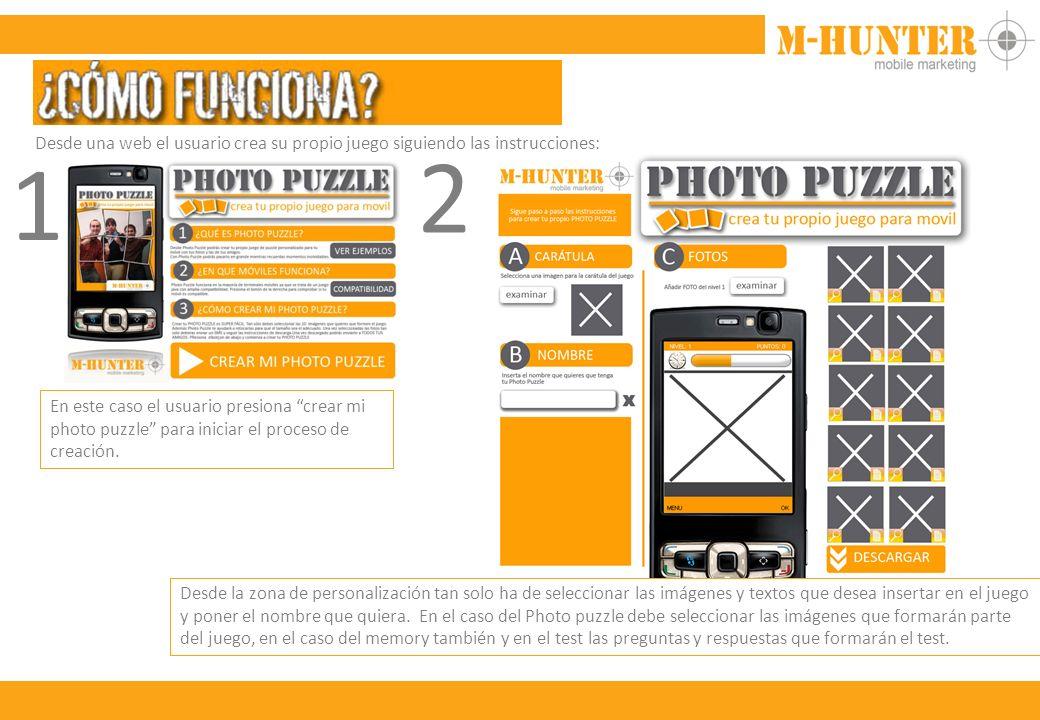 Desde una web el usuario crea su propio juego siguiendo las instrucciones: 1 En este caso el usuario presiona crear mi photo puzzle para iniciar el proceso de creación.
