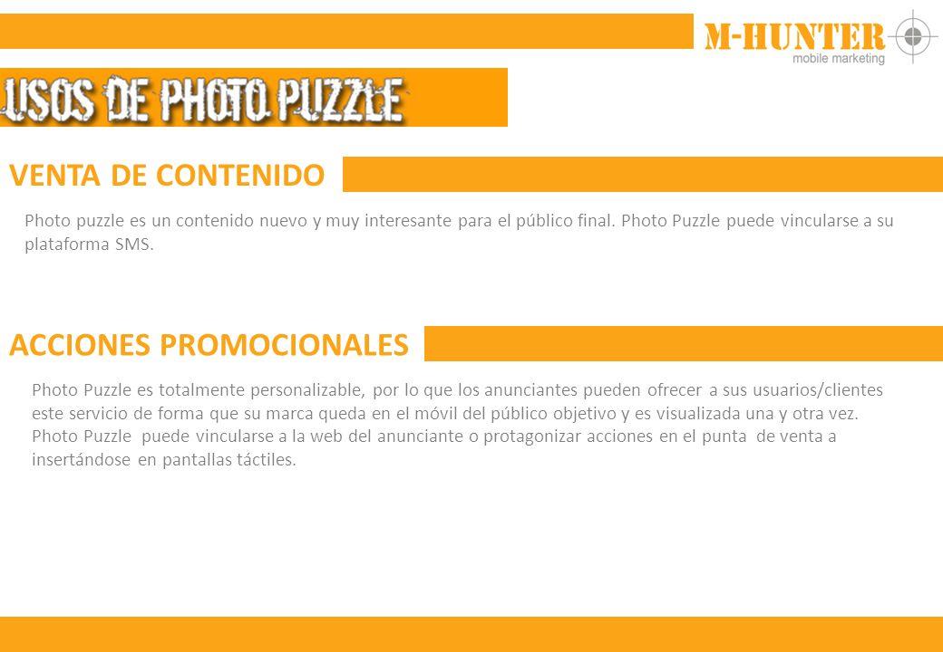 VENTA DE CONTENIDO Photo puzzle es un contenido nuevo y muy interesante para el público final.