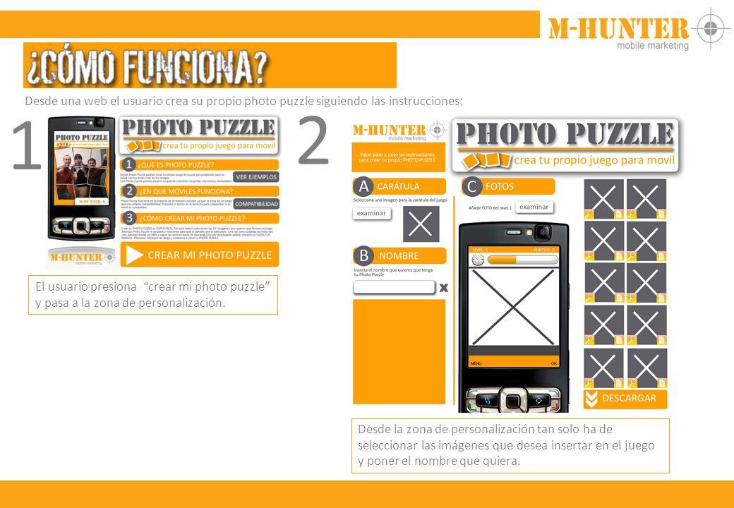 Desde una web el usuario crea su propio photo puzzle siguiendo las instrucciones: 1 El usuario presiona crear mi photo puzzle y pasa a la zona de personalización.