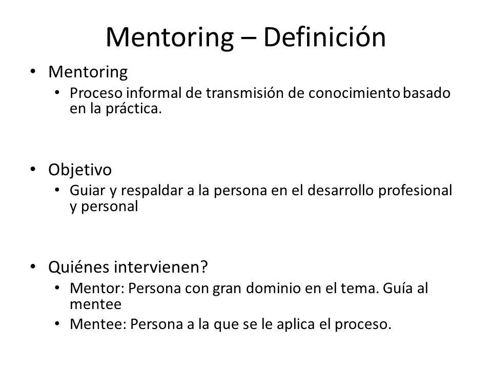 Mentoring – Definición Mentoring Proceso informal de transmisión de conocimiento basado en la práctica. Objetivo Guiar y respaldar a la persona en el