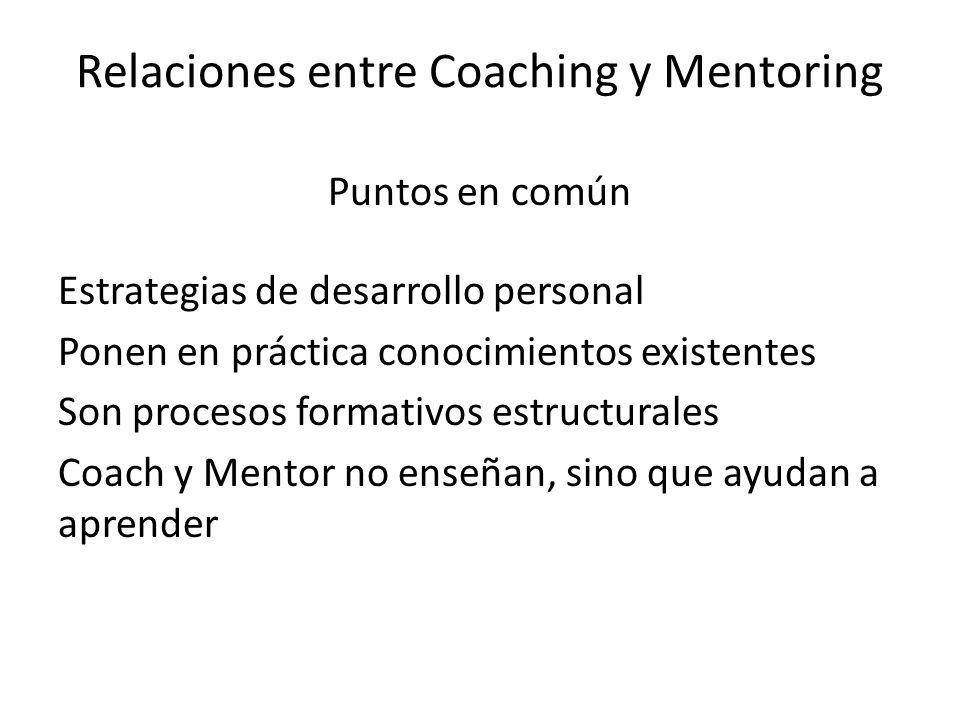 Relaciones entre Coaching y Mentoring Puntos en común Estrategias de desarrollo personal Ponen en práctica conocimientos existentes Son procesos forma