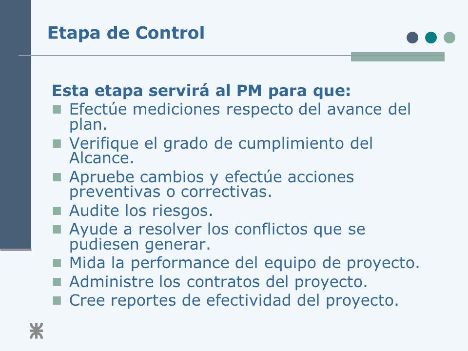 Etapa de Control Esta etapa servirá al PM para que: Efectúe mediciones respecto del avance del plan.