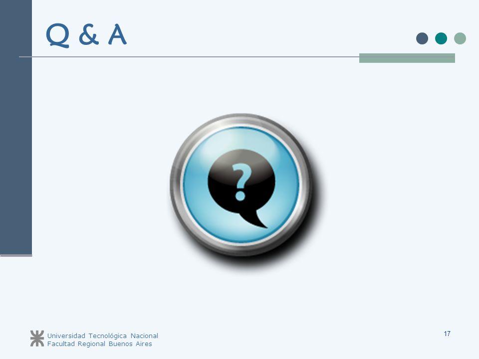 Universidad Tecnológica Nacional Facultad Regional Buenos Aires 17 Q & A