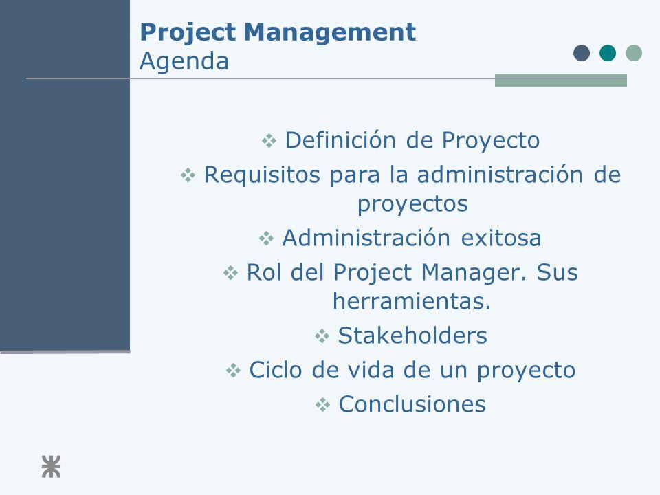 Project Management Agenda Definición de Proyecto Requisitos para la administración de proyectos Administración exitosa Rol del Project Manager.