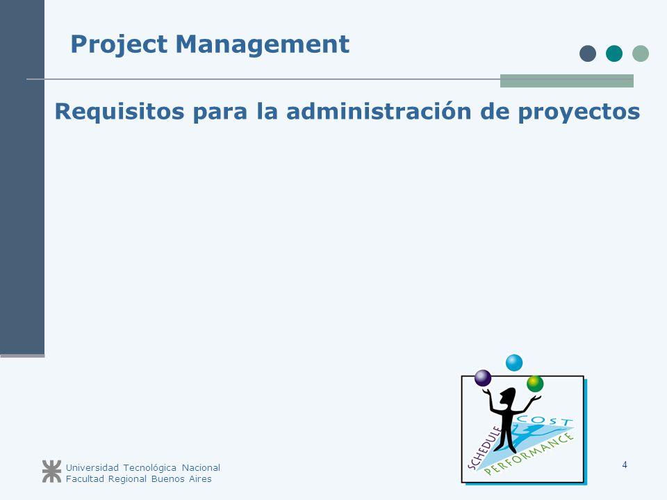 Universidad Tecnológica Nacional Facultad Regional Buenos Aires 4 Requisitos para la administración de proyectos Project Management