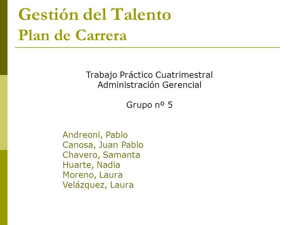 Gestión del Talento Plan de Carrera Trabajo Práctico Cuatrimestral Administración Gerencial Grupo nº 5 Andreoni, Pablo Canosa, Juan Pablo Chavero, Sam