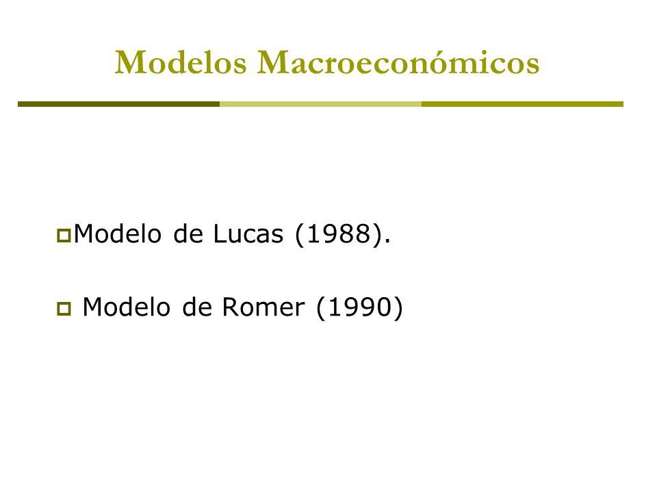 Modelo de Lucas (1988). Modelo de Romer (1990) Modelos Macroeconómicos