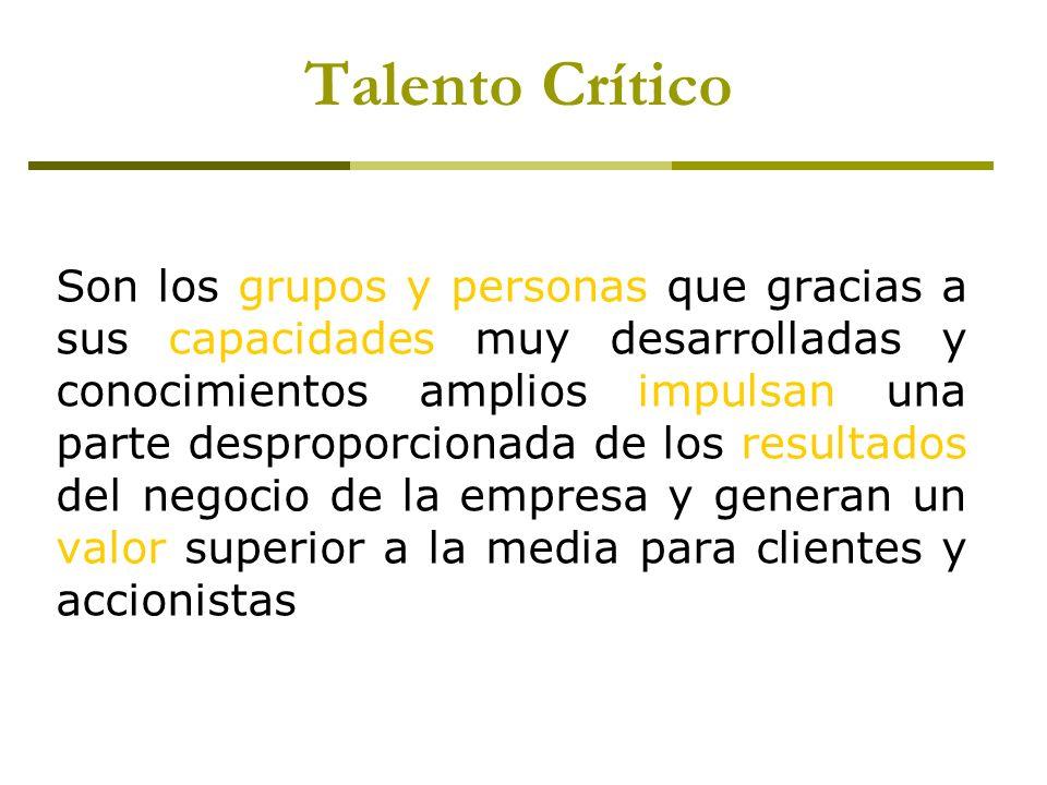Talento Crítico Son los grupos y personas que gracias a sus capacidades muy desarrolladas y conocimientos amplios impulsan una parte desproporcionada