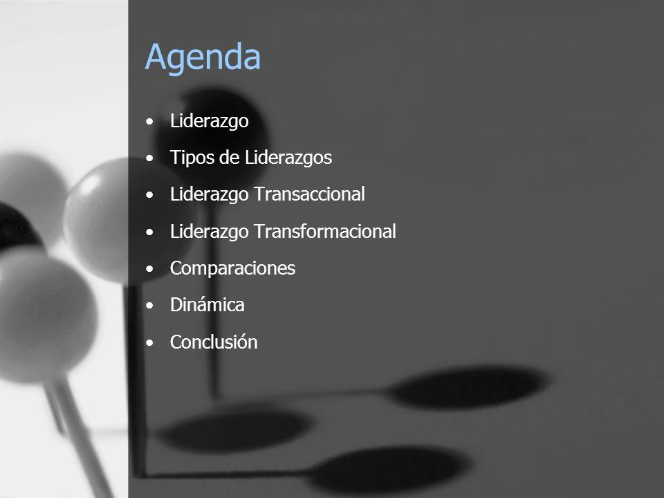 Agenda Liderazgo Tipos de Liderazgos Liderazgo Transaccional Liderazgo Transformacional Comparaciones Dinámica Conclusión