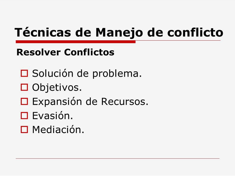 Técnicas de Manejo de conflicto Solución de problema. Objetivos. Expansión de Recursos. Evasión. Mediación. Resolver Conflictos