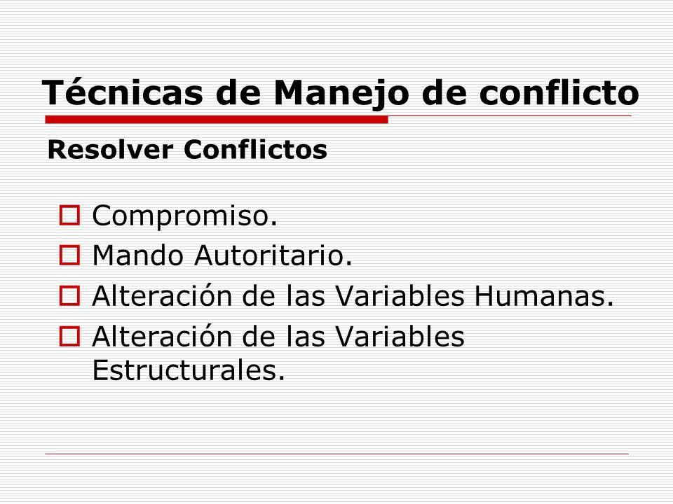 Técnicas de Manejo de conflicto Compromiso. Mando Autoritario. Alteración de las Variables Humanas. Alteración de las Variables Estructurales. Resolve