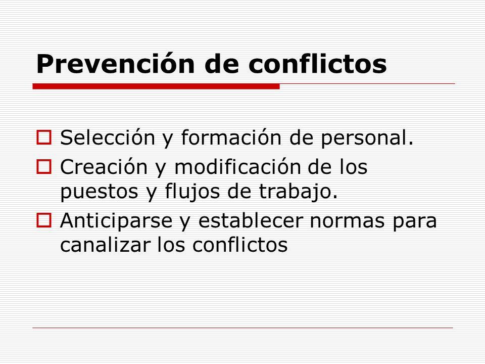 Prevención de conflictos Selección y formación de personal. Creación y modificación de los puestos y flujos de trabajo. Anticiparse y establecer norma