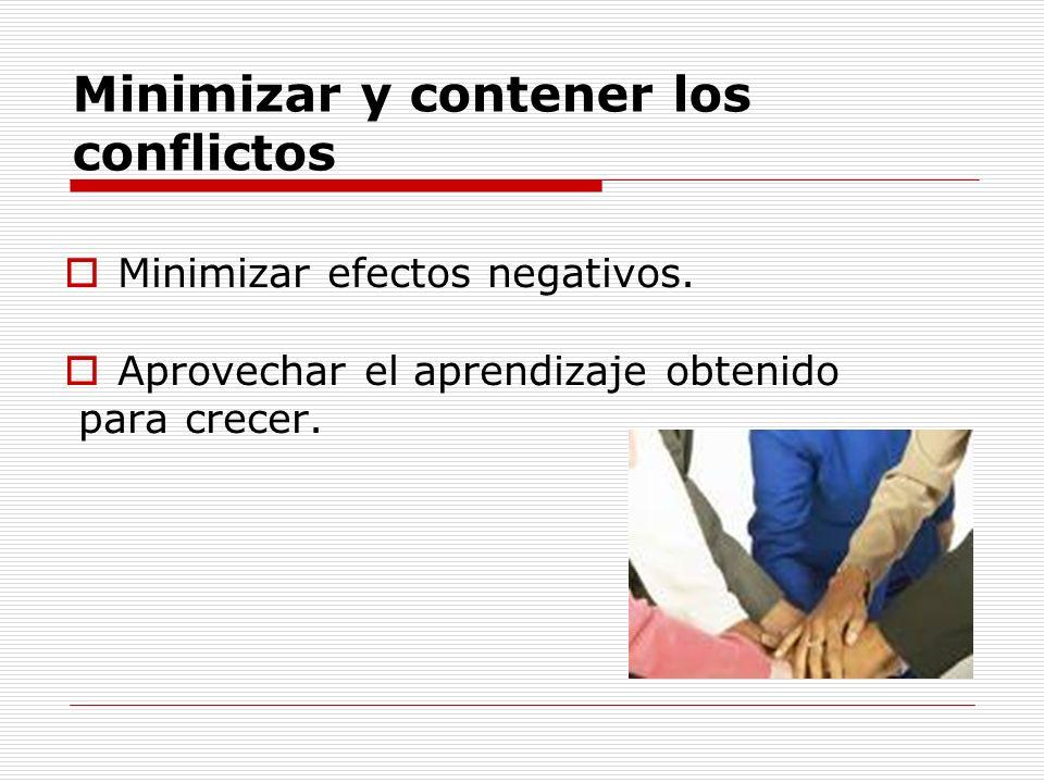 Minimizar y contener los conflictos Minimizar efectos negativos. Aprovechar el aprendizaje obtenido para crecer.