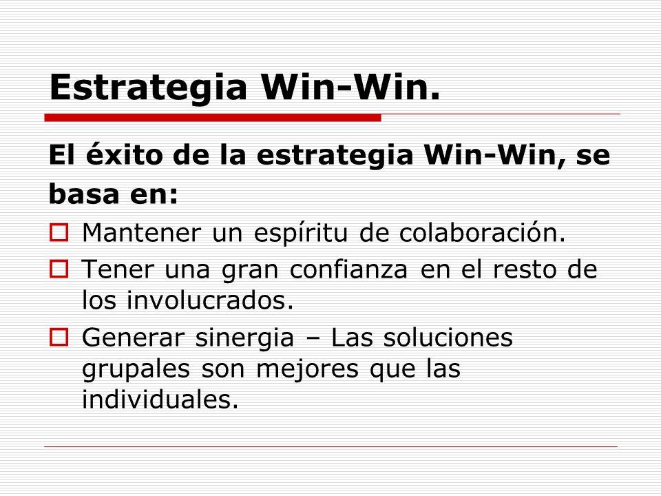 Estrategia Win-Win. El éxito de la estrategia Win-Win, se basa en: Mantener un espíritu de colaboración. Tener una gran confianza en el resto de los i