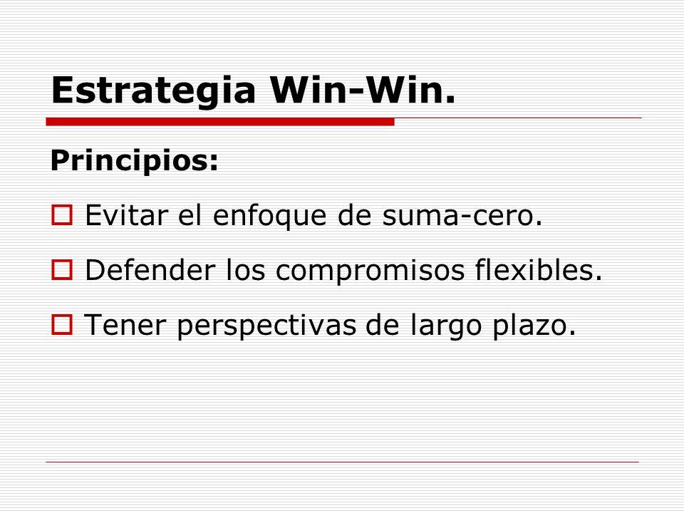 Estrategia Win-Win. Principios: Evitar el enfoque de suma-cero. Defender los compromisos flexibles. Tener perspectivas de largo plazo.