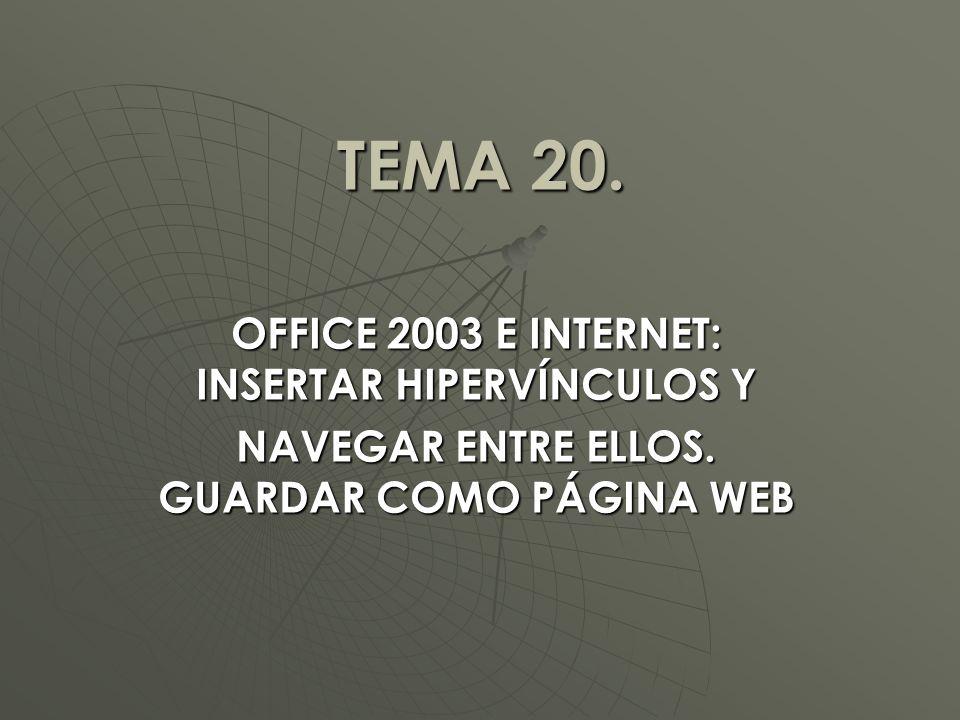 TEMA 20.OFFICE 2003 E INTERNET: INSERTAR HIPERVÍNCULOS Y NAVEGAR ENTRE ELLOS.