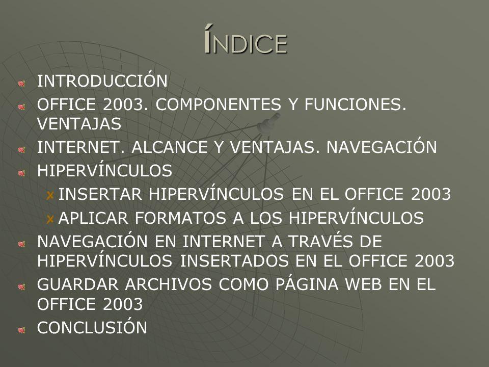 Í NDICE INTRODUCCIÓN OFFICE 2003. COMPONENTES Y FUNCIONES.