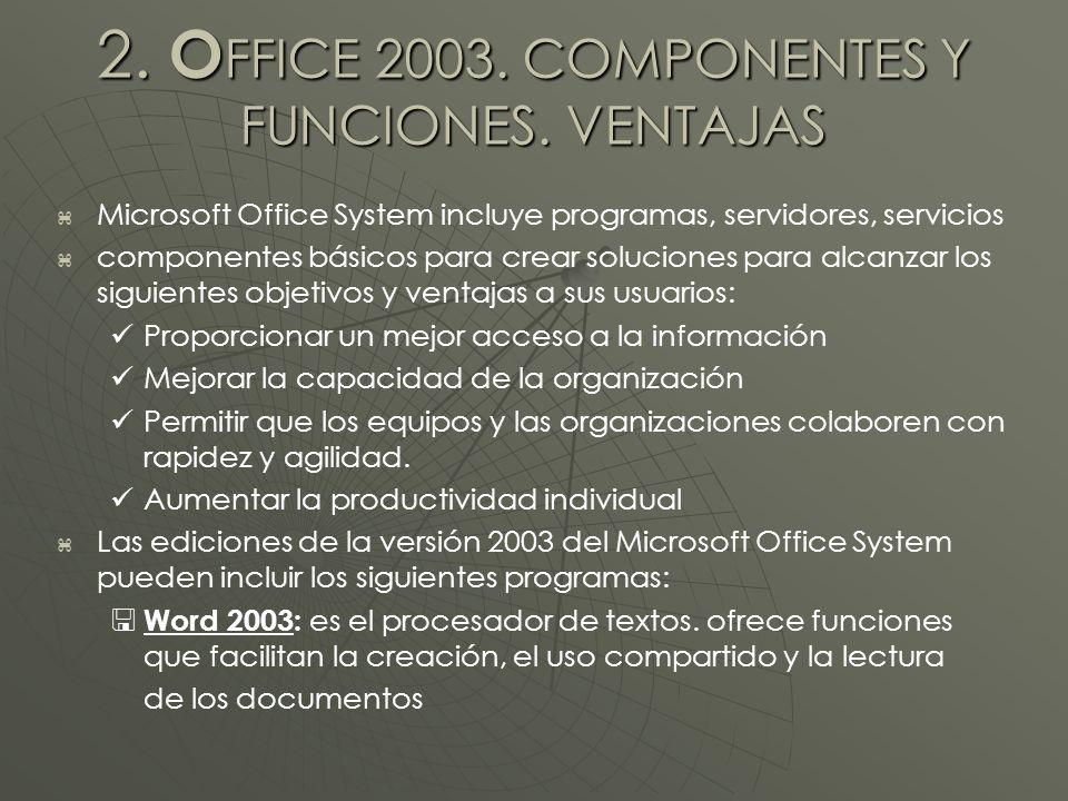 2. O FFICE 2003. COMPONENTES Y FUNCIONES.
