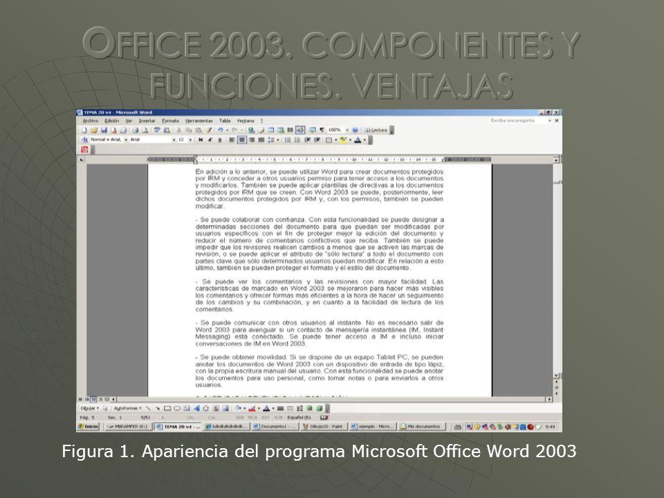 Figura 1. Apariencia del programa Microsoft Office Word 2003