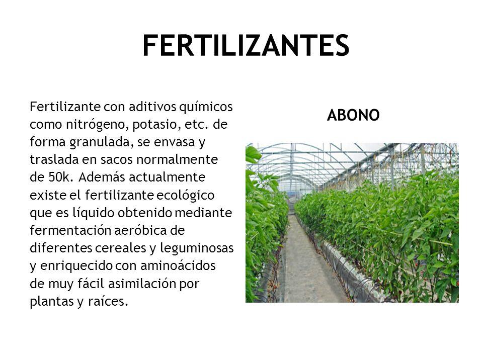 FERTILIZANTES ABONO Fertilizante con aditivos químicos como nitrógeno, potasio, etc. de forma granulada, se envasa y traslada en sacos normalmente de