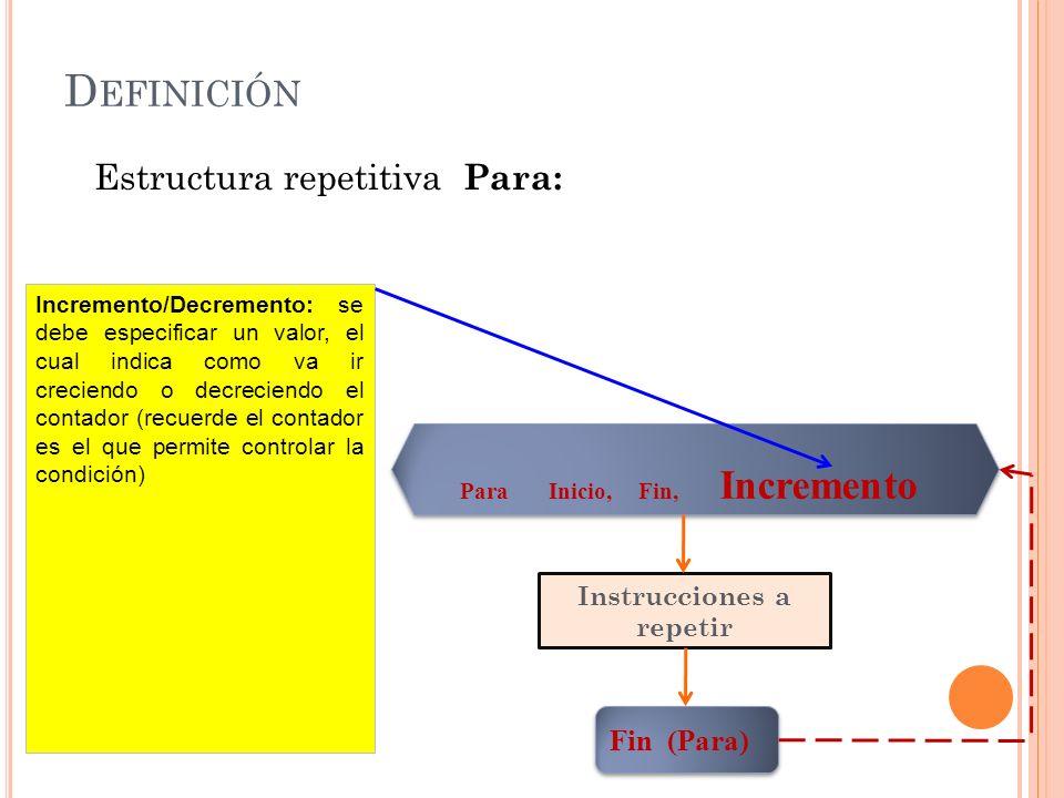 D EFINICIÓN Estructura repetitiva Para: Para Inicio, Fin, Incremento Instrucciones a repetir Fin (Para) Incremento/Decremento: se debe especificar un