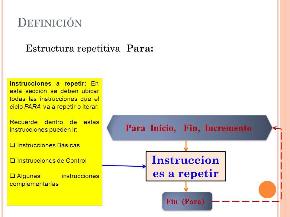 D EFINICIÓN Estructura repetitiva Para: Para Inicio, Fin, Incremento Instruccion es a repetir Fin (Para) Instrucciones a repetir: En esta sección se d
